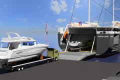Simulation der Beladung von Bénéteau-Booten auf dem Neoline Ro-Ro-Segelschiff